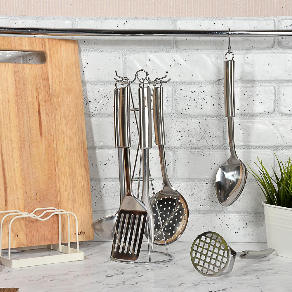 Набор кухонных принадлежностей 7 предметов,. нержавеющая сталь, Альфа SATOSHI