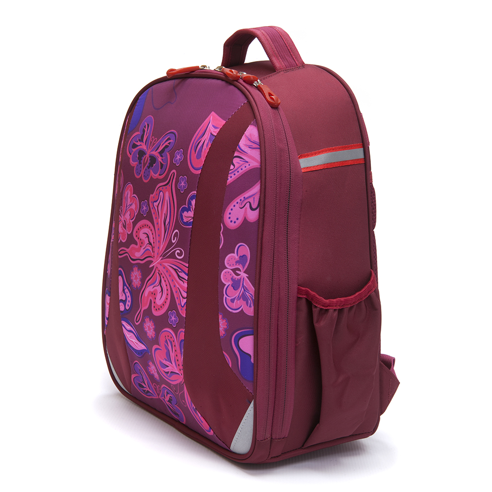Школьный рюкзак для девочки, 38x30x20см, жесткий каркас, СПЕЙС КРЫЛАТЫЕ ЦВЕТЫ