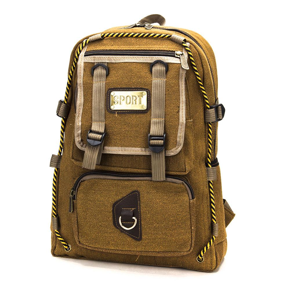Подростковый рюкзак, 1 отд., 5 карманов, холст, металл, искусственная кожа, песочный, 42x31x16 см