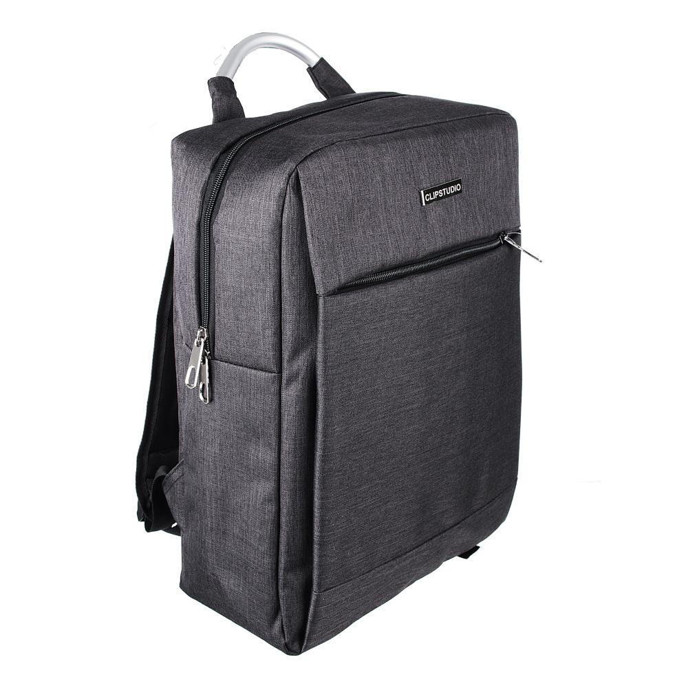 """Подростковый рюкзак, 1 отд., накладной карман, метал.ручка, полиэстер """"под ткань"""", черный, 42x30x15"""