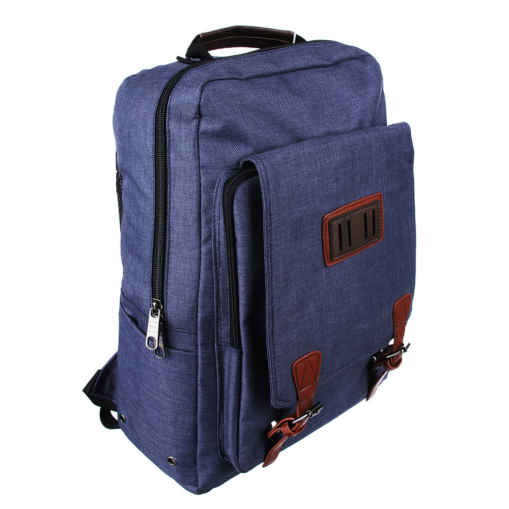 Рюкзак подростковый, 42x28x17см, клапан на 2 кнопках, накладной карман, синий