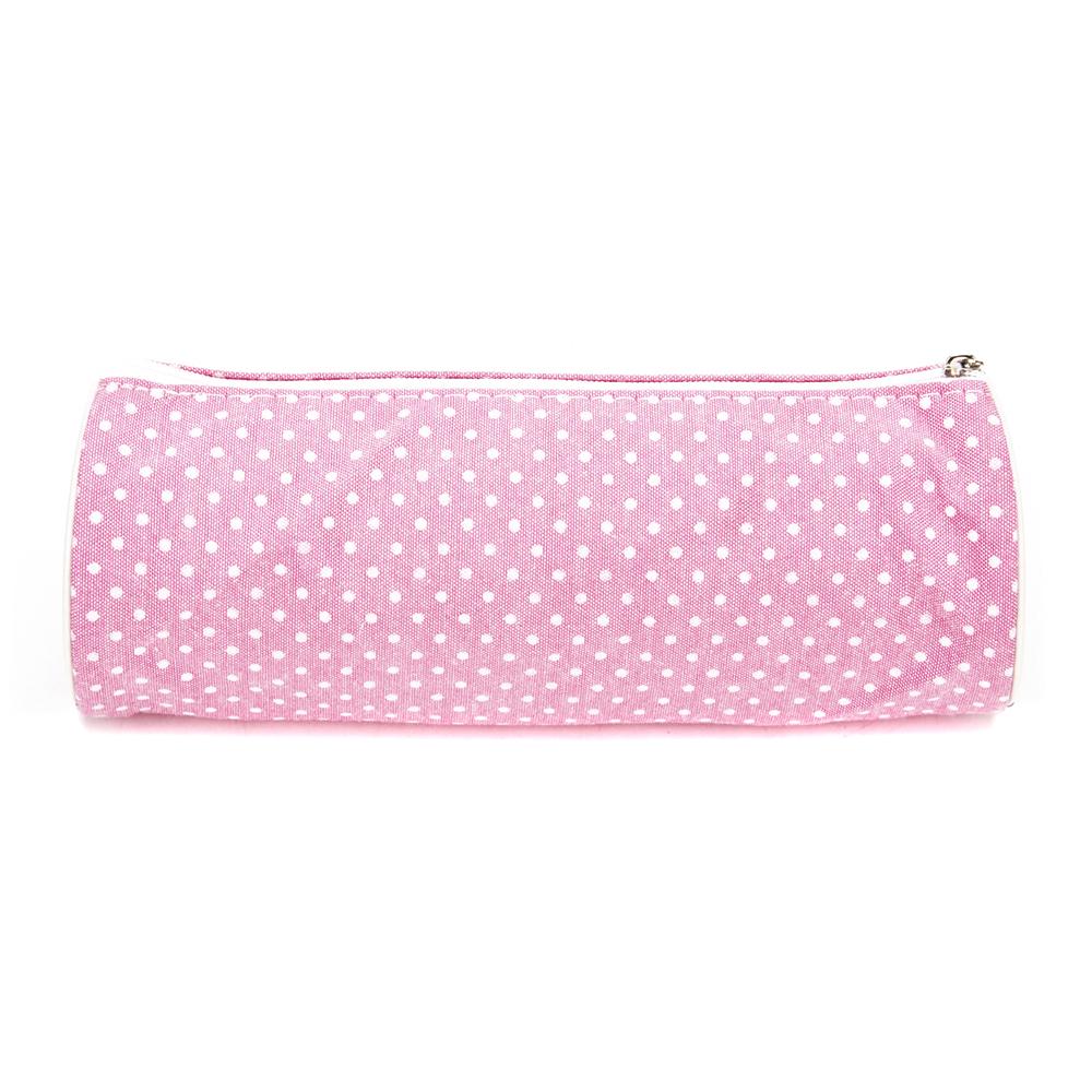 """Школьный пенал для девочки, 21х7х7см, цилиндр, текстильный """"под флис"""", розовый"""