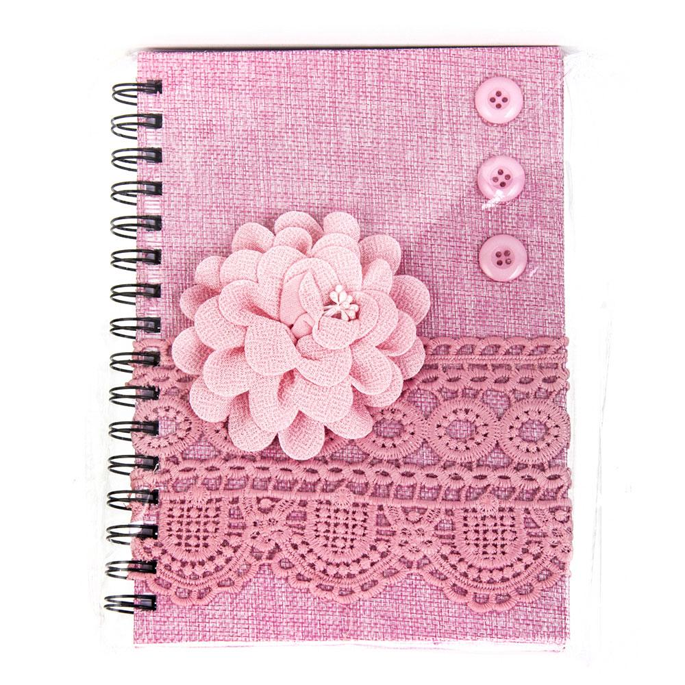Записная книжка с объемной аппликацией А5 100л., тв.обложка, розовая, бумага, полиэстер, пластик