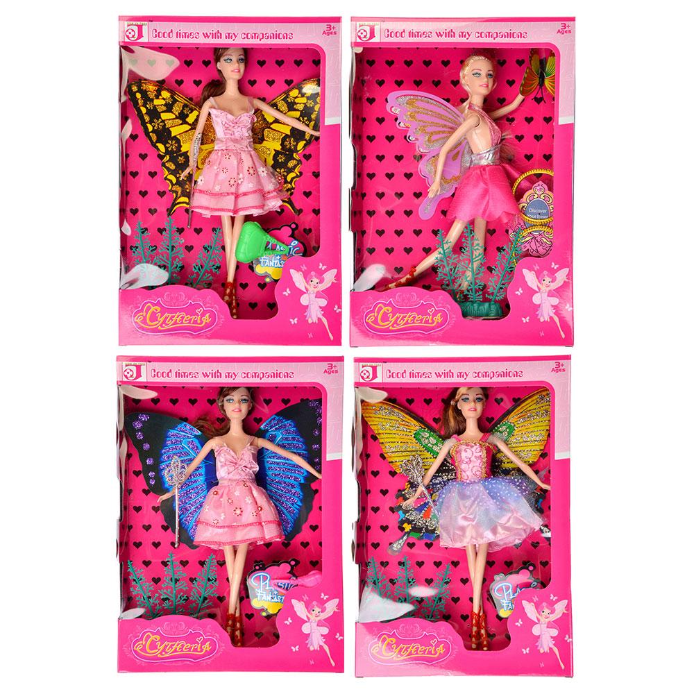 Кукла с крыльями 29см, пластик, полиэстер, 9х29х3см, 2 дизайна