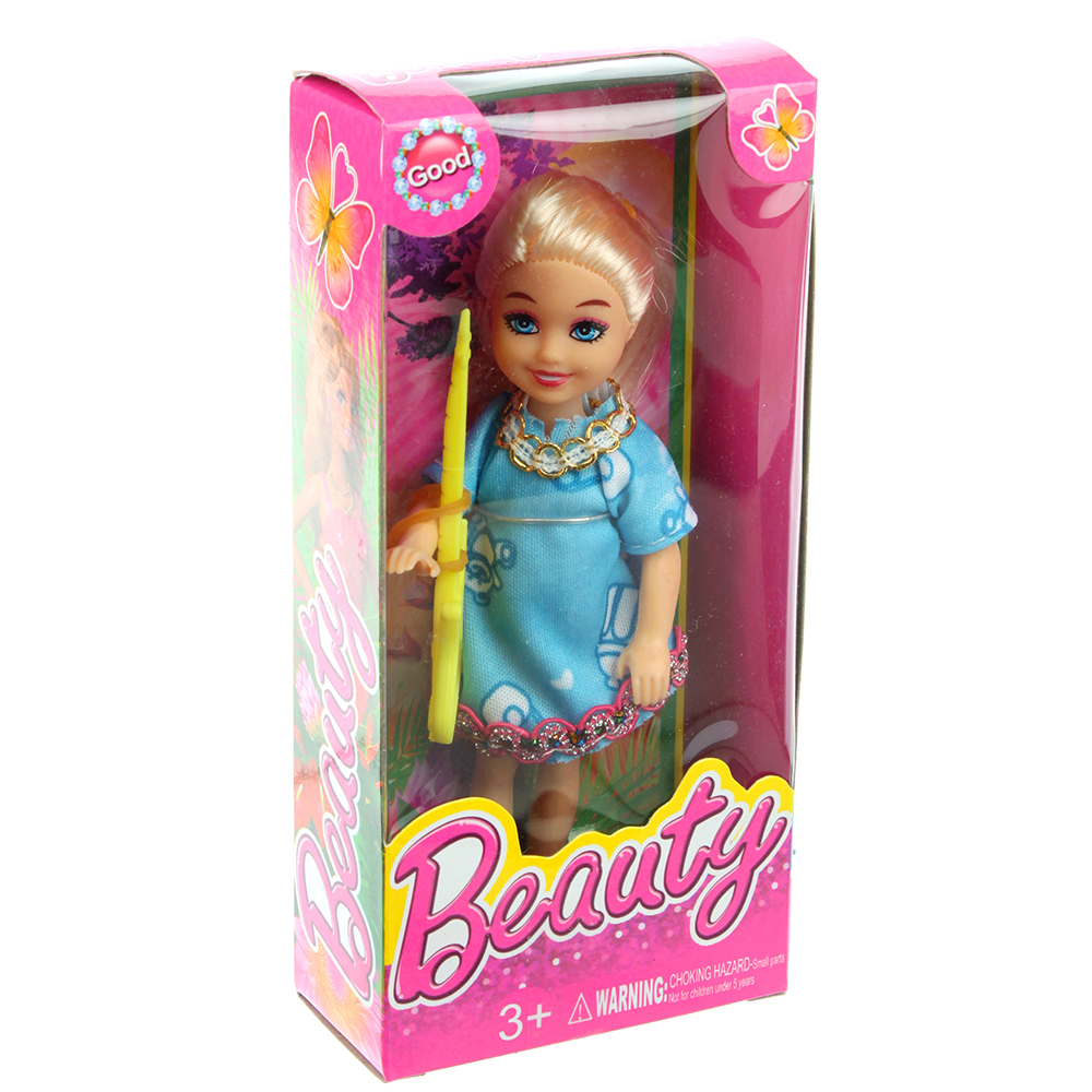 Маленькая куколка в нарядном платье 13см, пластик, полиэстер, 4х13х2,5см, 4 дизайна