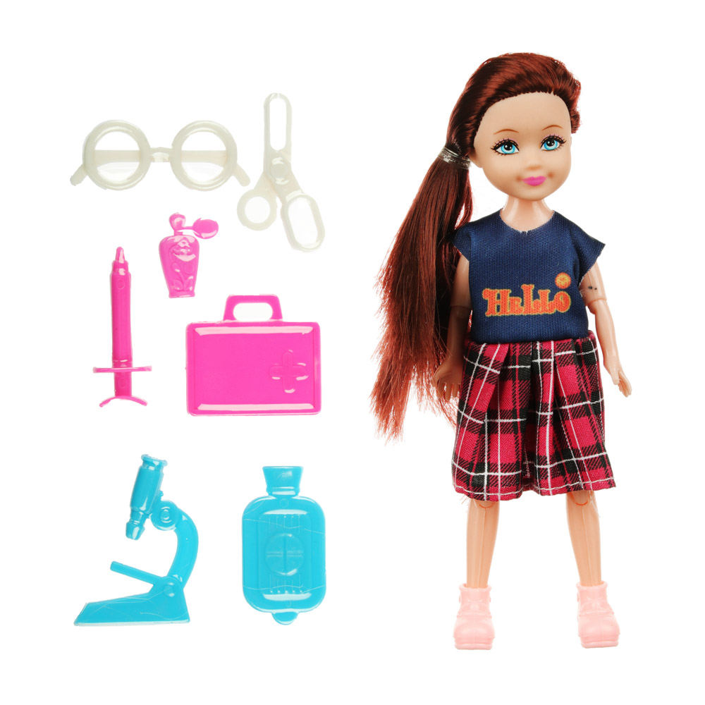 ИГРОЛЕНД Кукла в виде малышки с аксессуарами, пластик, полиэстер 25х19, 5х10см, 4 дизайна
