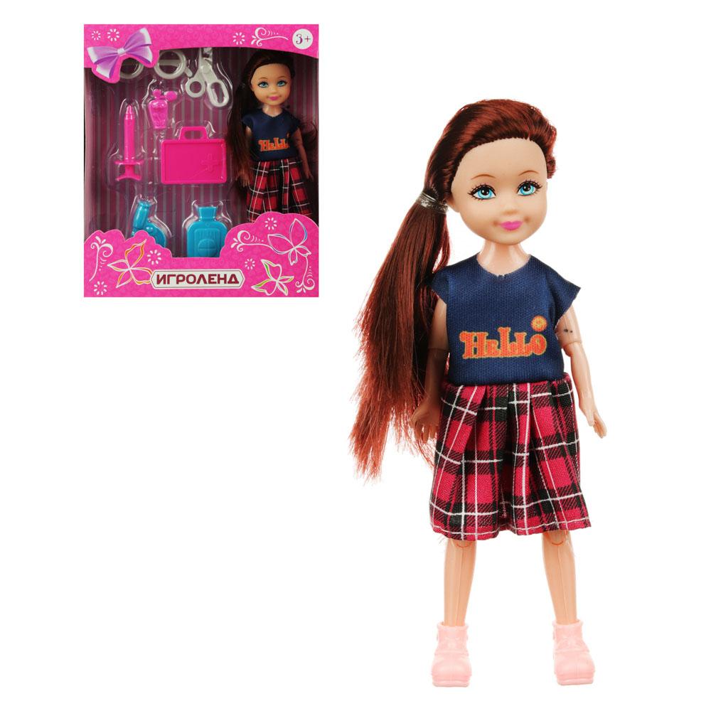 Маленькая куколка с аксессуарами, пластик, полиэстер, 32х24х19см