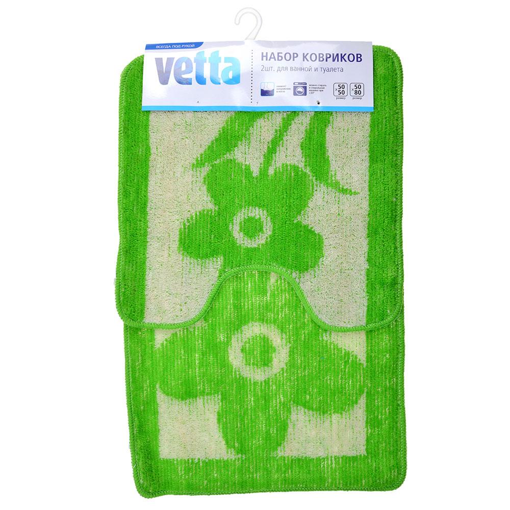 VETTA Набор ковриков 2шт для ванной и туалета, акрил, 50x80см + 50x50см, эконом 4