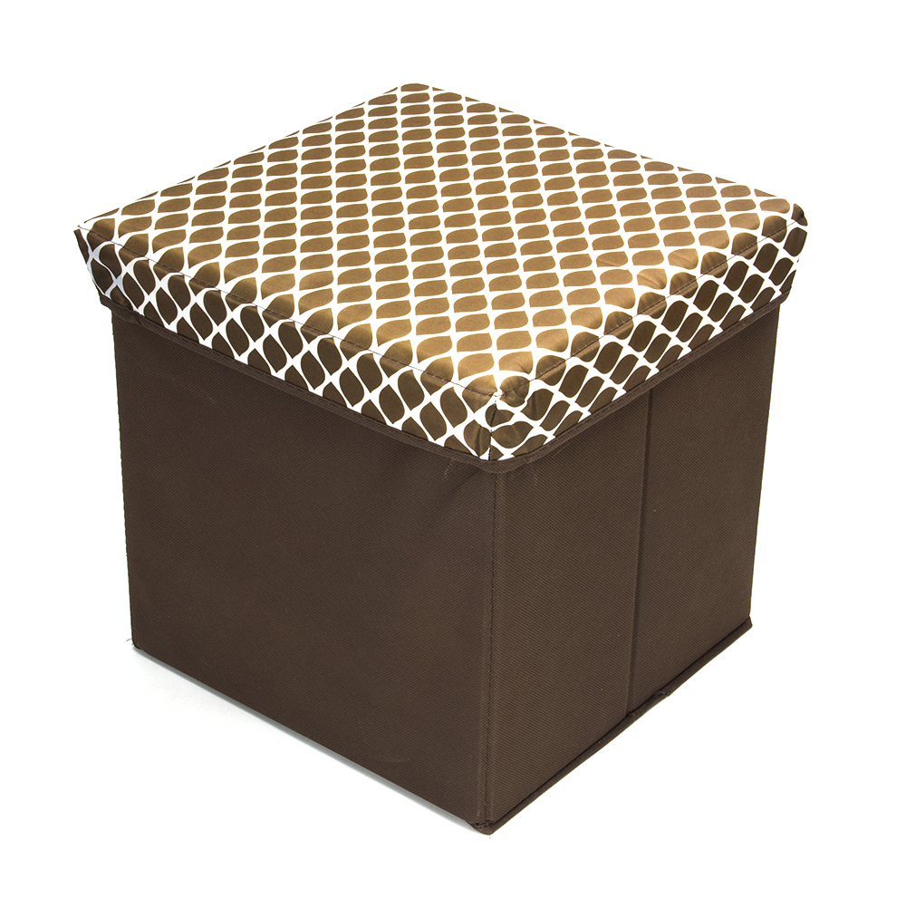 Пуфик складной, ПУ, спанбонд, картон, 31х31х31см, до 80 кг, бежевый