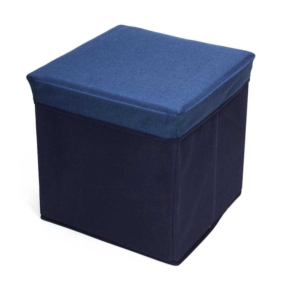Пуфик складной, ПУ, спанбонд, картон, 31х31х31см, до 80 кг, синий