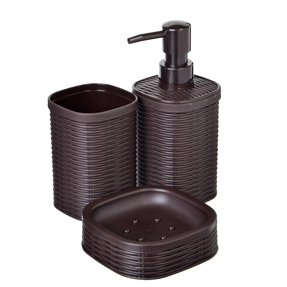 """Набор для ванной, 3 предмета, пластик, коричневый, SonWelle """"Ротанг"""""""
