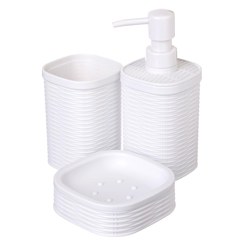 """Набор для ванной, 3 предмета, пластик, белый, SonWelle """"Ротанг"""""""