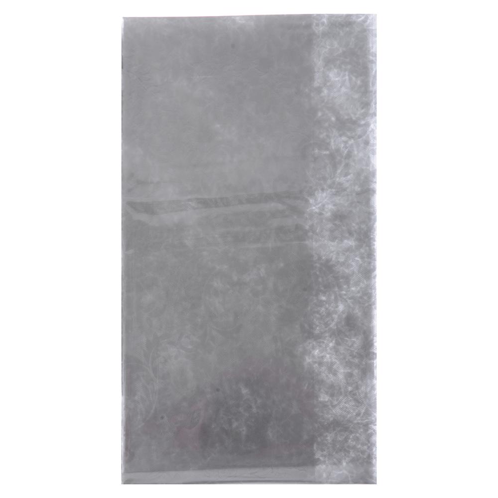 VETTA Скатерть виниловая прозрачная, 110х140см, вензель серебристая