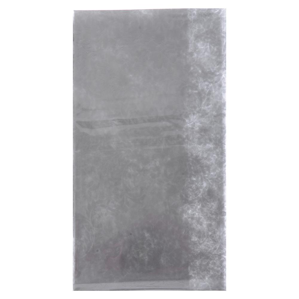 VETTA Скатерть виниловая прозрачная, 152х228см, вензель серебристая