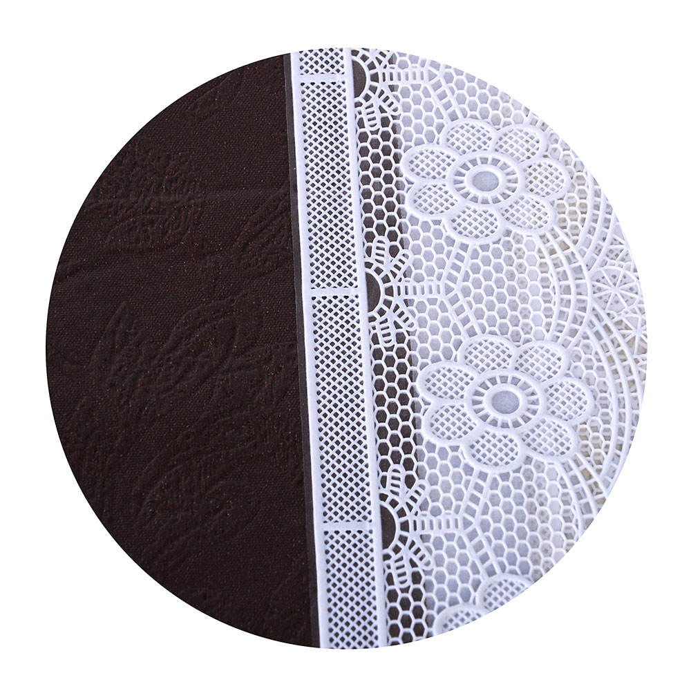 VETTA Скатерть виниловая тиснёная с ажурной каймой, d137см, полосы престиж