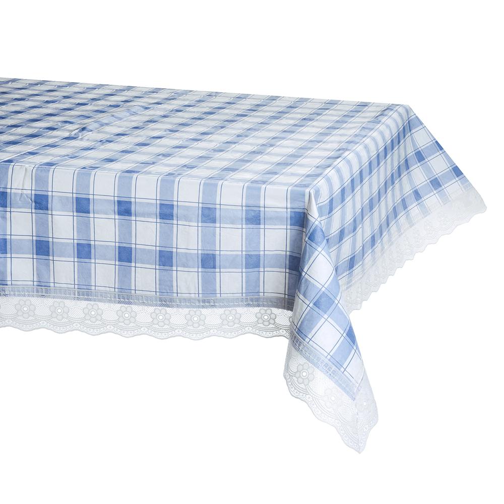 """Скатерть на стол виниловая, с ажурной каймой, 152x228см, VETTA """"Синяя клетка"""""""