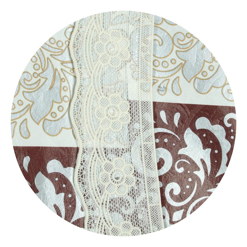 """Скатерть на стол виниловая, на фланелевой основе с каймой, d137см, VETTA """"Ромбы"""""""