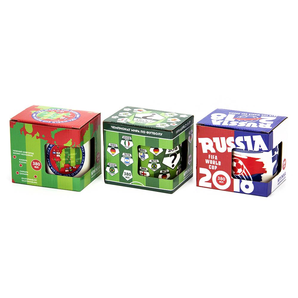 ЧМ по футболу Кружка, 380мл, керамика, 3 дизайна, подар. упак.