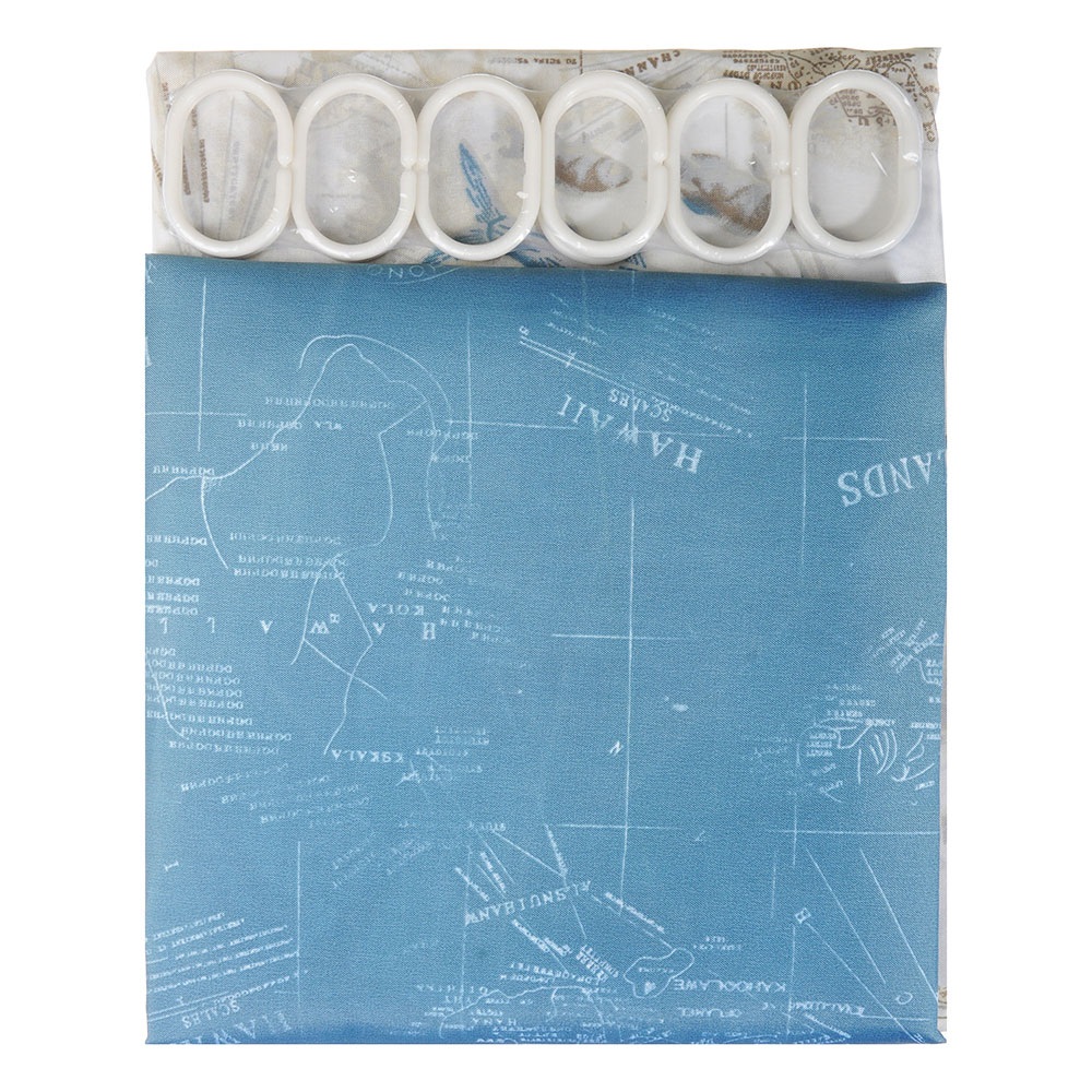 SonWelle Шторка для ванной, полиэстер, 180х180см, с утяжелителем, МОРЕ