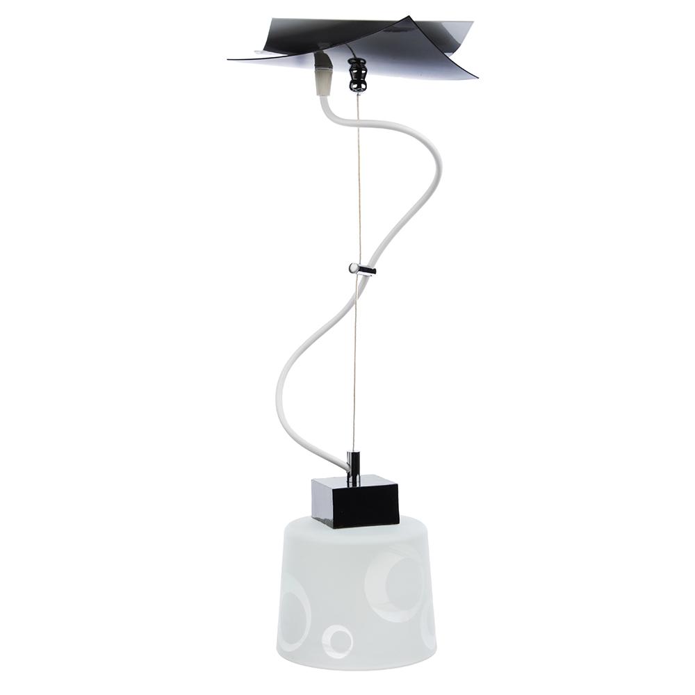 Светильник подвесной Конверт 22х22х16см, 60Вт, Е27, черн./бел. Стекло