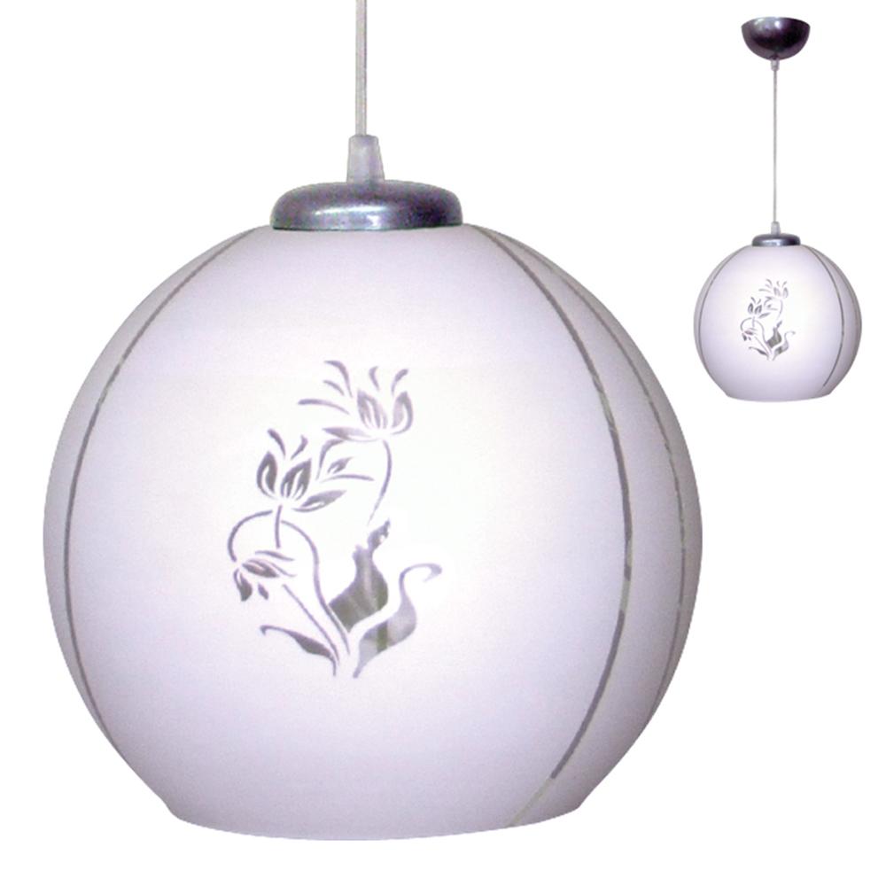 Светильник подвесной Крокус сфера, 25,5х25,5х26см, 60Вт, Е27,белый матовый /шнур проз., стекло