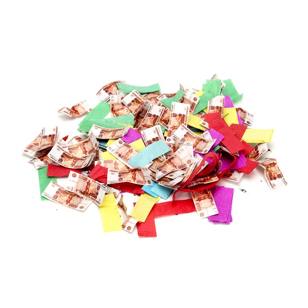 Хлопушка пневматическая, бумага, металл, 50 см, наполнитель бумага 5000 рублей и конфетти, дизайн 12