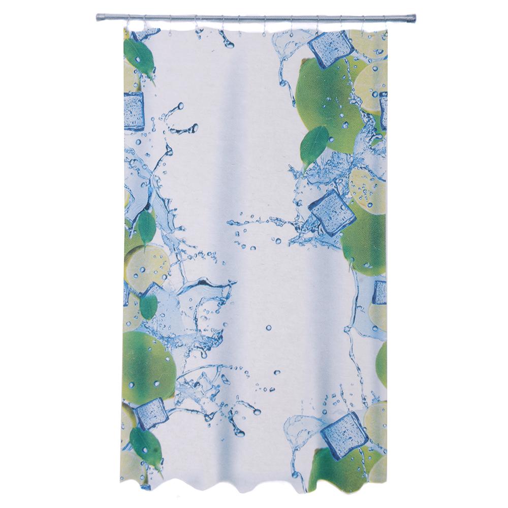 VETTA Шторка для ванной, ткань полиэстер с утяжелит, 180x180см, фотопечать эконом, Кубики льда