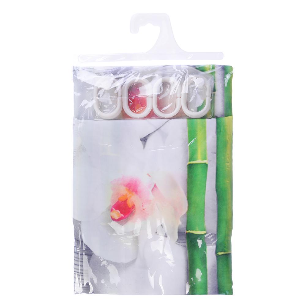 VETTA Шторка для ванной, ткань полиэстер с утяжелит, 180x180см, фотопечать эконом, Бамбук
