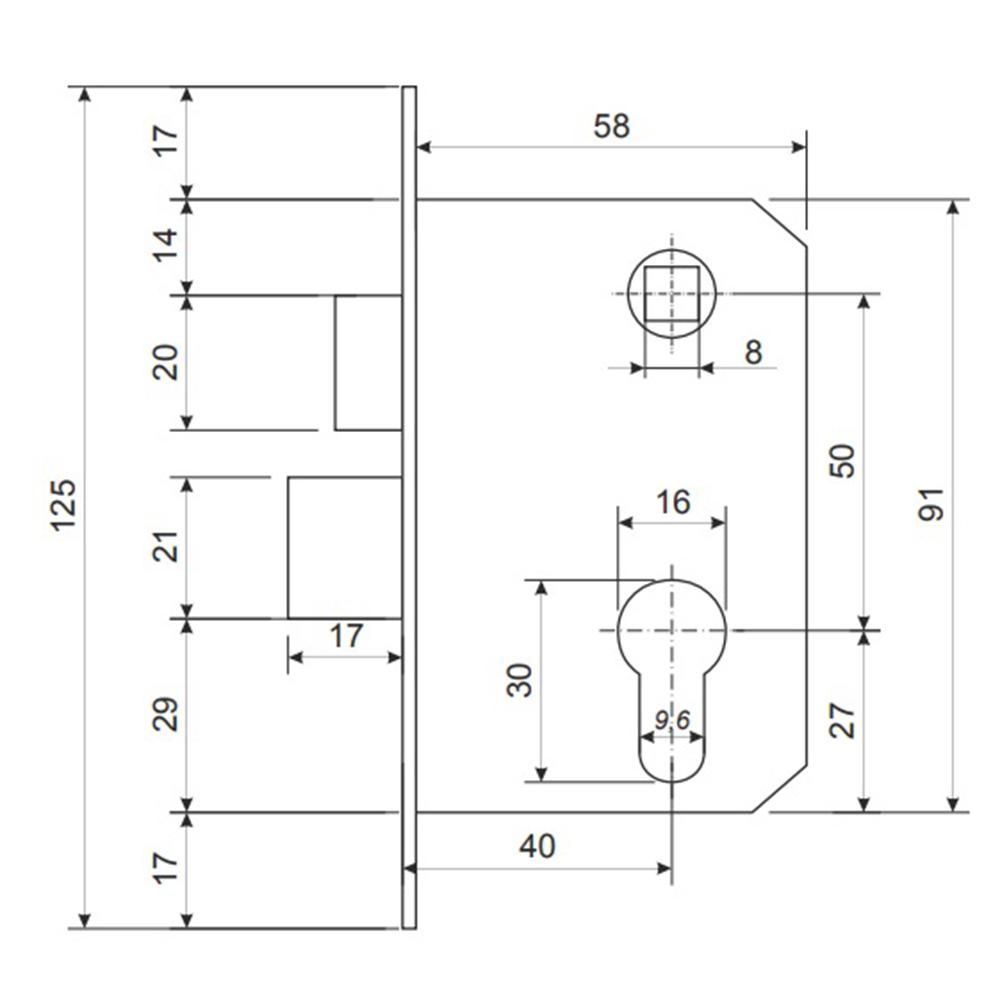Замок врезной 0827/60, ключ-вертушка, м/о 50 мм, хром