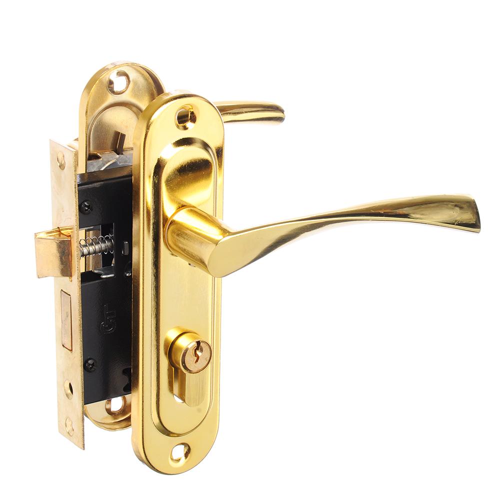Замок врезной 0827/60, ключ-вертушка, м/о 50 мм, золото