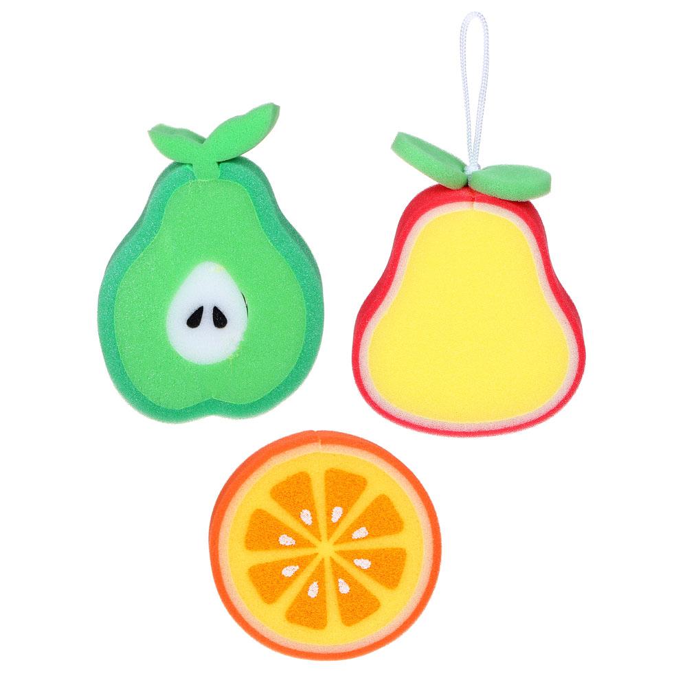 Мочалка детская в виде апельсина 12х3см/груши 14х12х3см, 2 дизайна