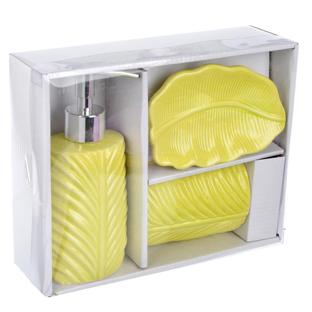 """Набор для ванной, 3 предмета, керамика, зеленый, SonWelle """"Лист"""""""
