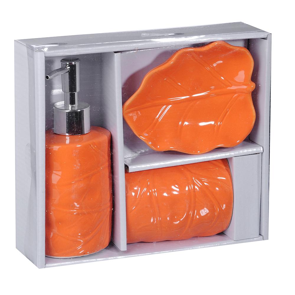 """Набор для ванной, 3 предмета, керамика, голубой, SonWelle """"Лист"""""""