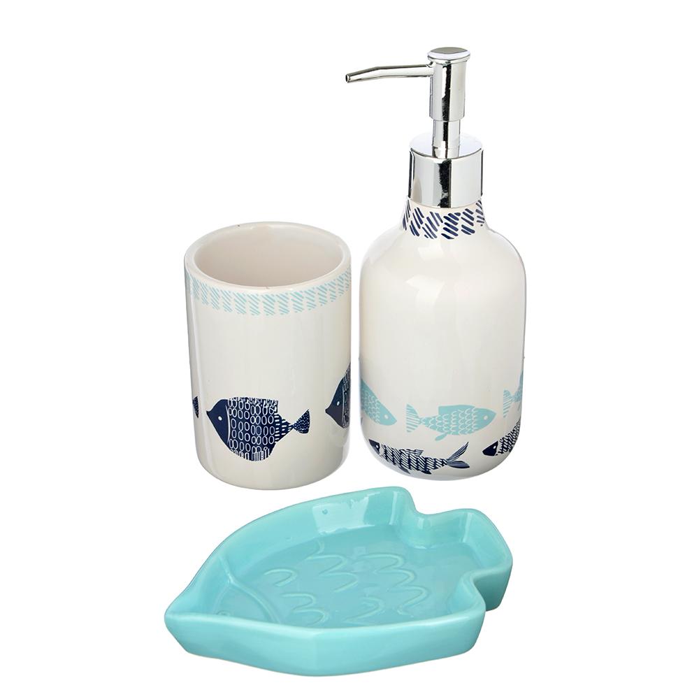 "Набор для ванной, керамика, 3 предмета, SonWelle ""Рыбки"""
