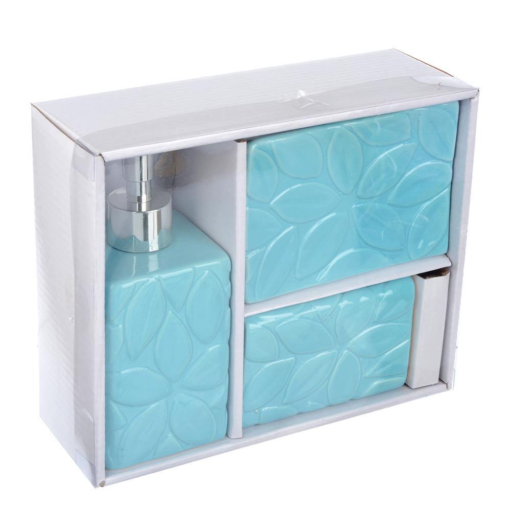 "Набор для ванной, керамика, 3 предмета, SonWelle ""Лепестки"""