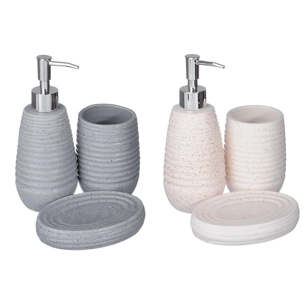 "Набор для ванной, керамика, 3 предмета, SonWelle ""Гранит"""