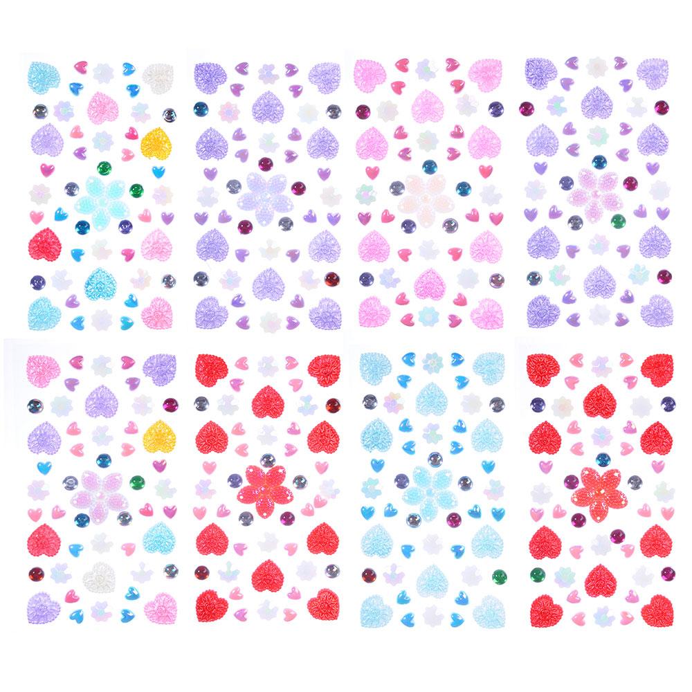 Набор страз самоклеящихся для декорирования, пластик, 10х20-30х0,5см, 4-8 цветов