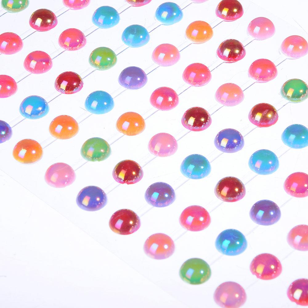 Стразы самоклеящиеся для декорирования, пластик, 10х20-30х0,5см, 4-12 цветов