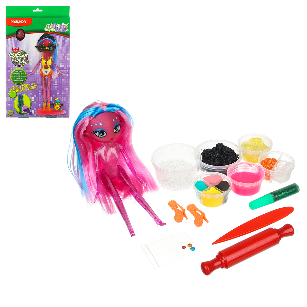 Хоббихит Набор для творчества Наряди куклу: кукла, ткань, 12дет., 16х31х5см, 4 дизайна