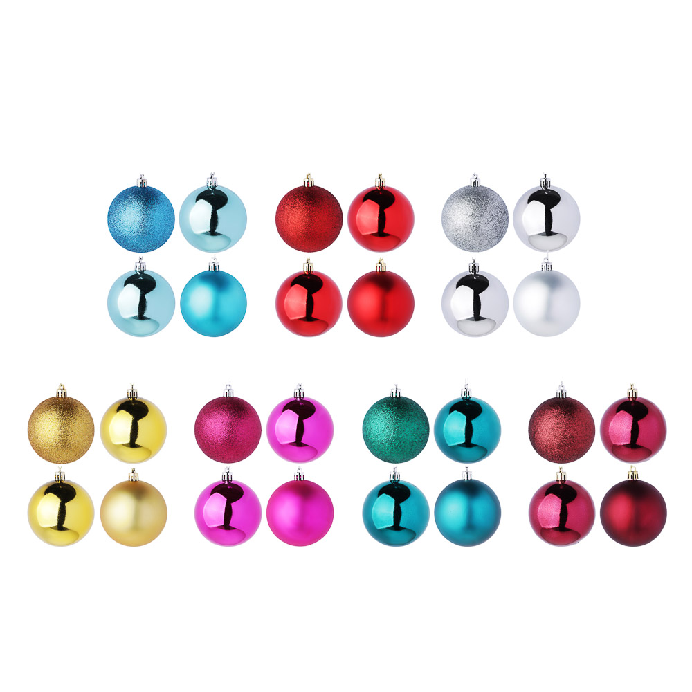 Елочные шары набор СНОУ БУМ 4 шт, 8см, пластик, в пакете, ассортимент цветов