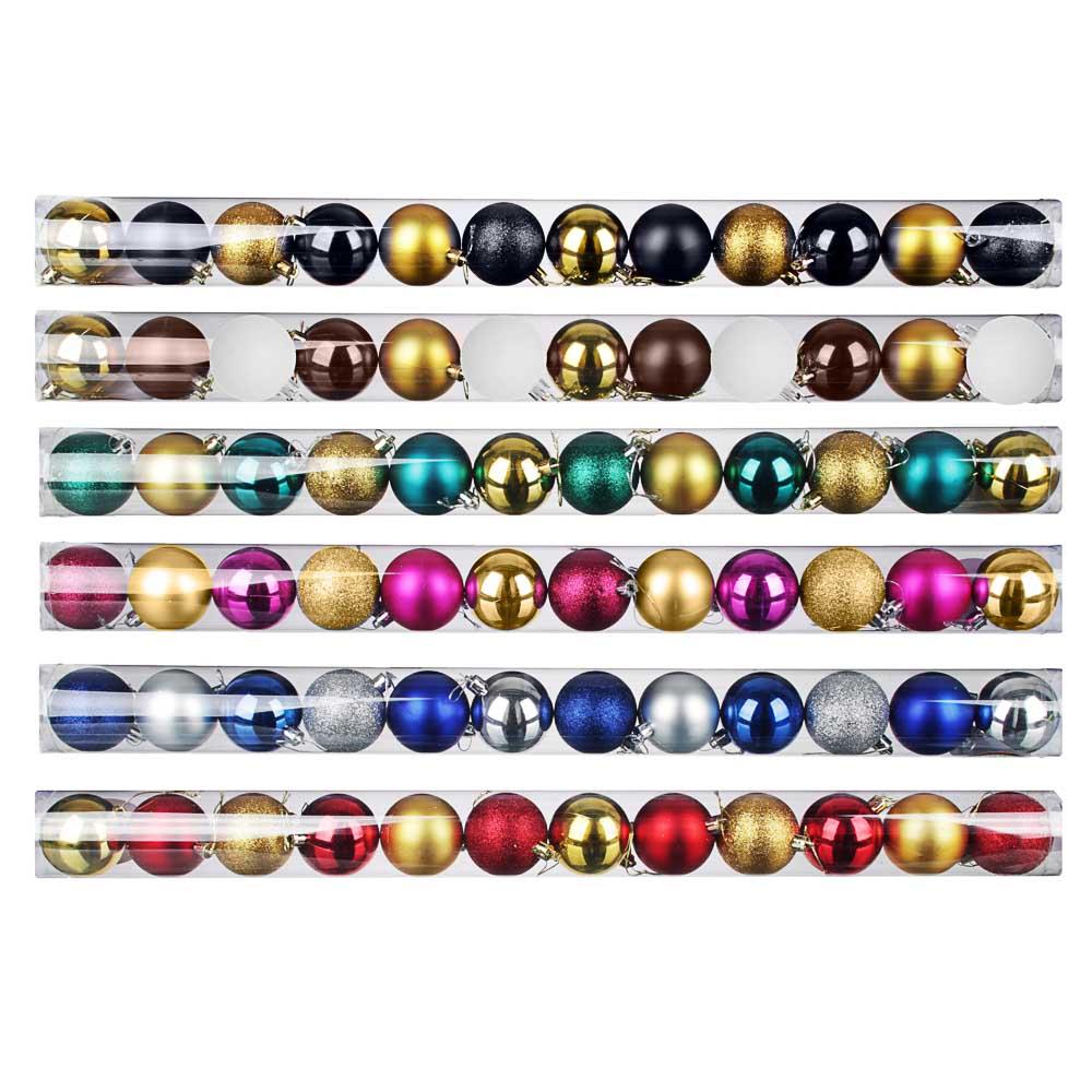 Елочные шары набор СНОУ БУМ 12 шт, 6см, пластик, в тубе, ассортимент цветов