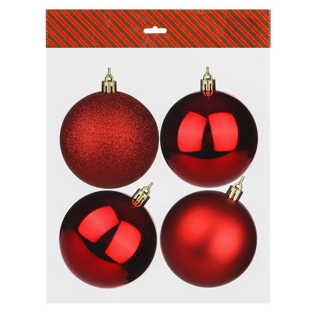 Елочные шары набор СНОУ БУМ 4 шт, 8см, пластик, в пакете, красный: глянец, матовый, глиттер