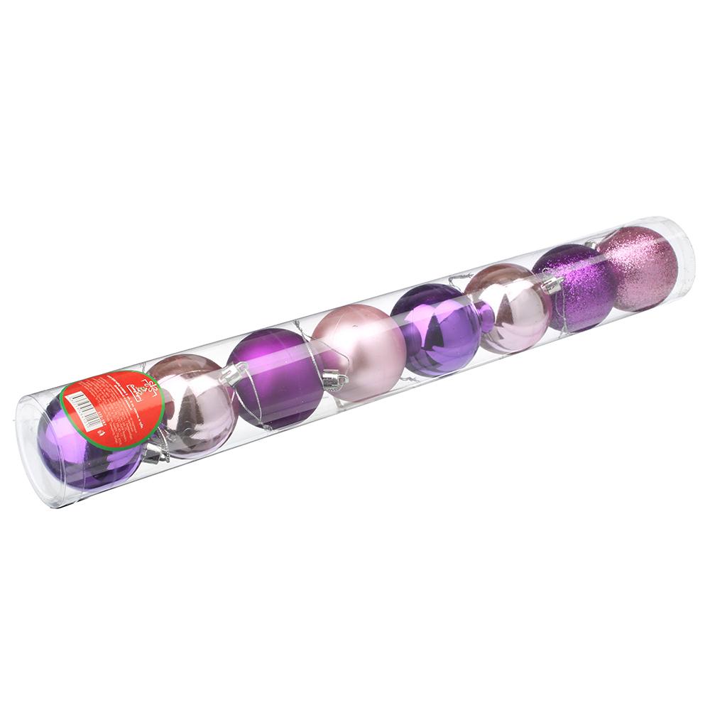 СНОУ БУМ Набор шаров 8 шт, 6см, пластик, в тубе, фиолетовый и розовый