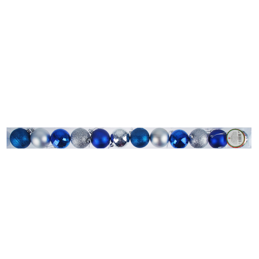 СНОУ БУМ Набор шаров 12 шт, 6см, пластик, в тубе, синий и серебряный