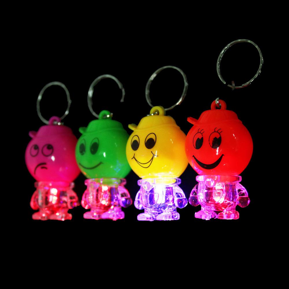 Брелок световой в виде смайлика, пластик, 5-6см, 4 цвета