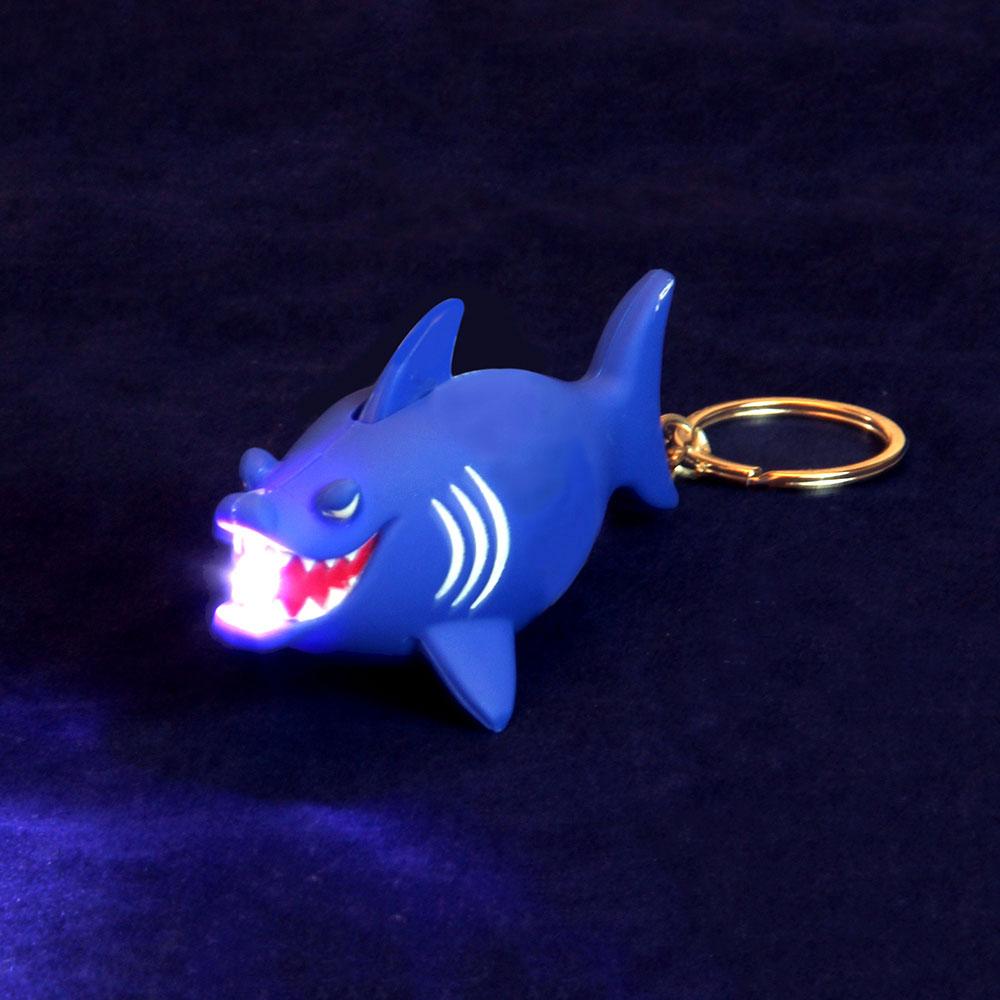 Брелок в форме акулы, свет, звук, пластик, 10-11см