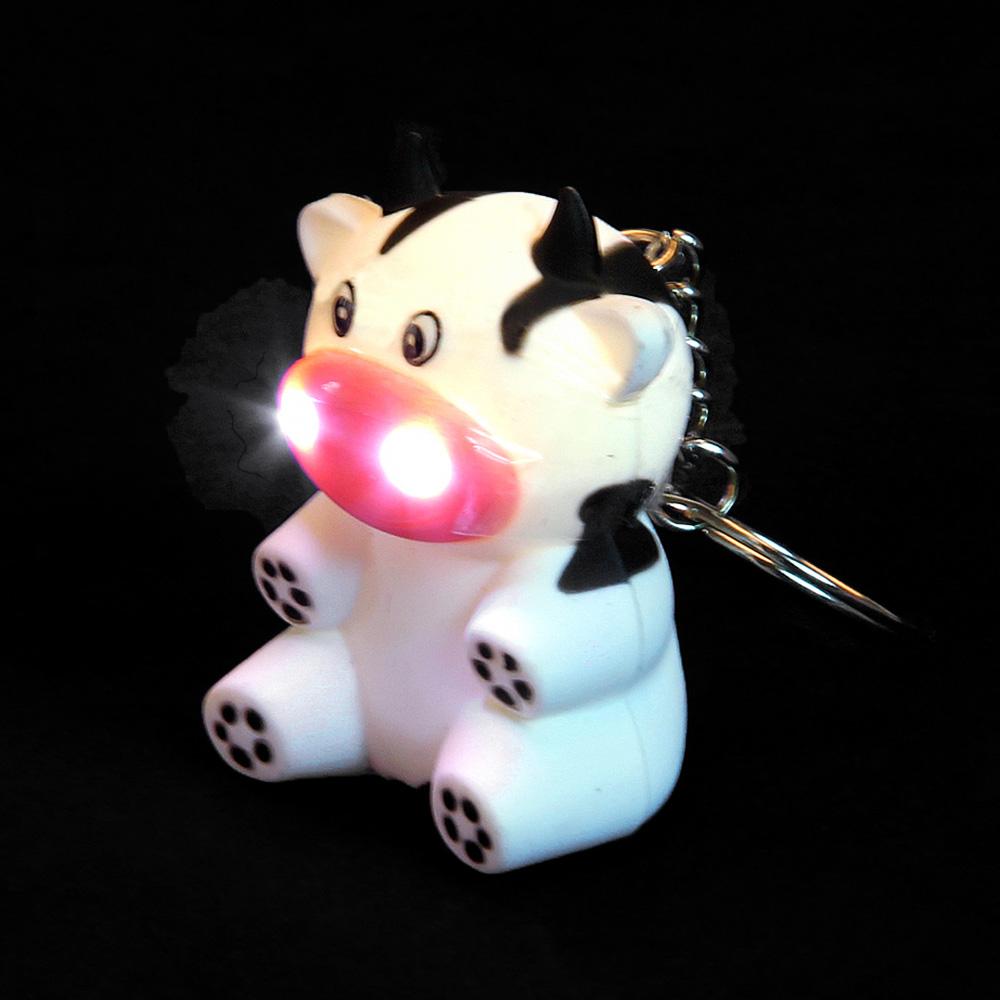 Брелок в форме коровки, свет, звук, пластик, 9см