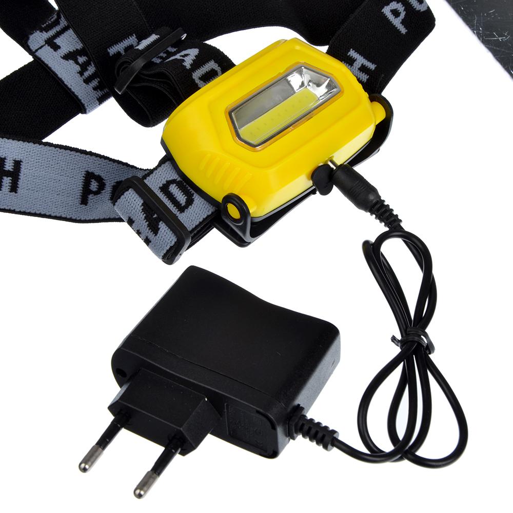 ЧИНГИСХАН Фонарь налобный, 1 COB, 7Вт, аккумулятор 200мАч, 8х4см, пластик, 3 режима