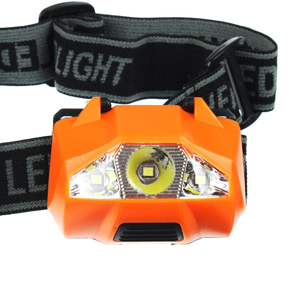 Фонарик налобный, 3 LED, 1Вт, 3хААA , 6х4см, пластик