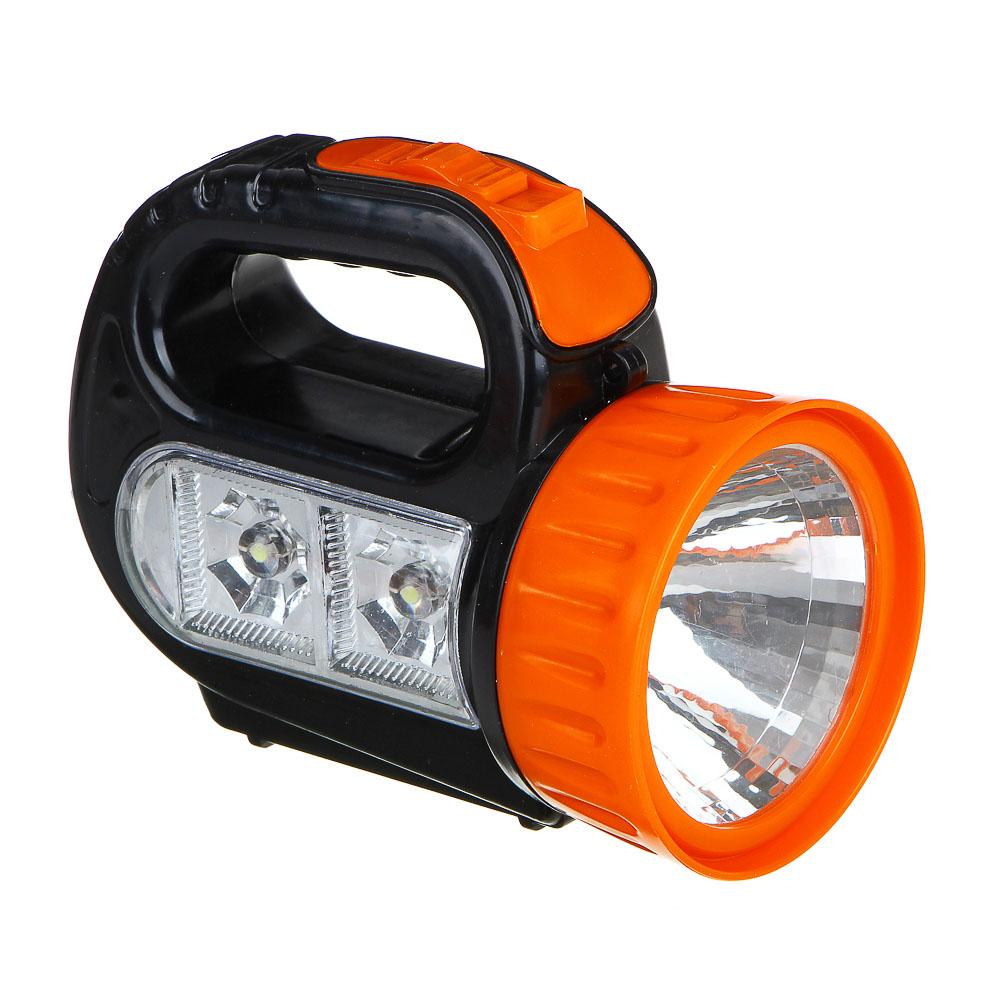 ЧИНГИСХАН Фонарь, 1 LED + 2 LED, 1+2 Вт, 3xАА, 12х10х5см, пластик
